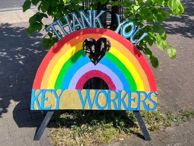 Thank you key workers - Herne Hill coronavirus handmade sign