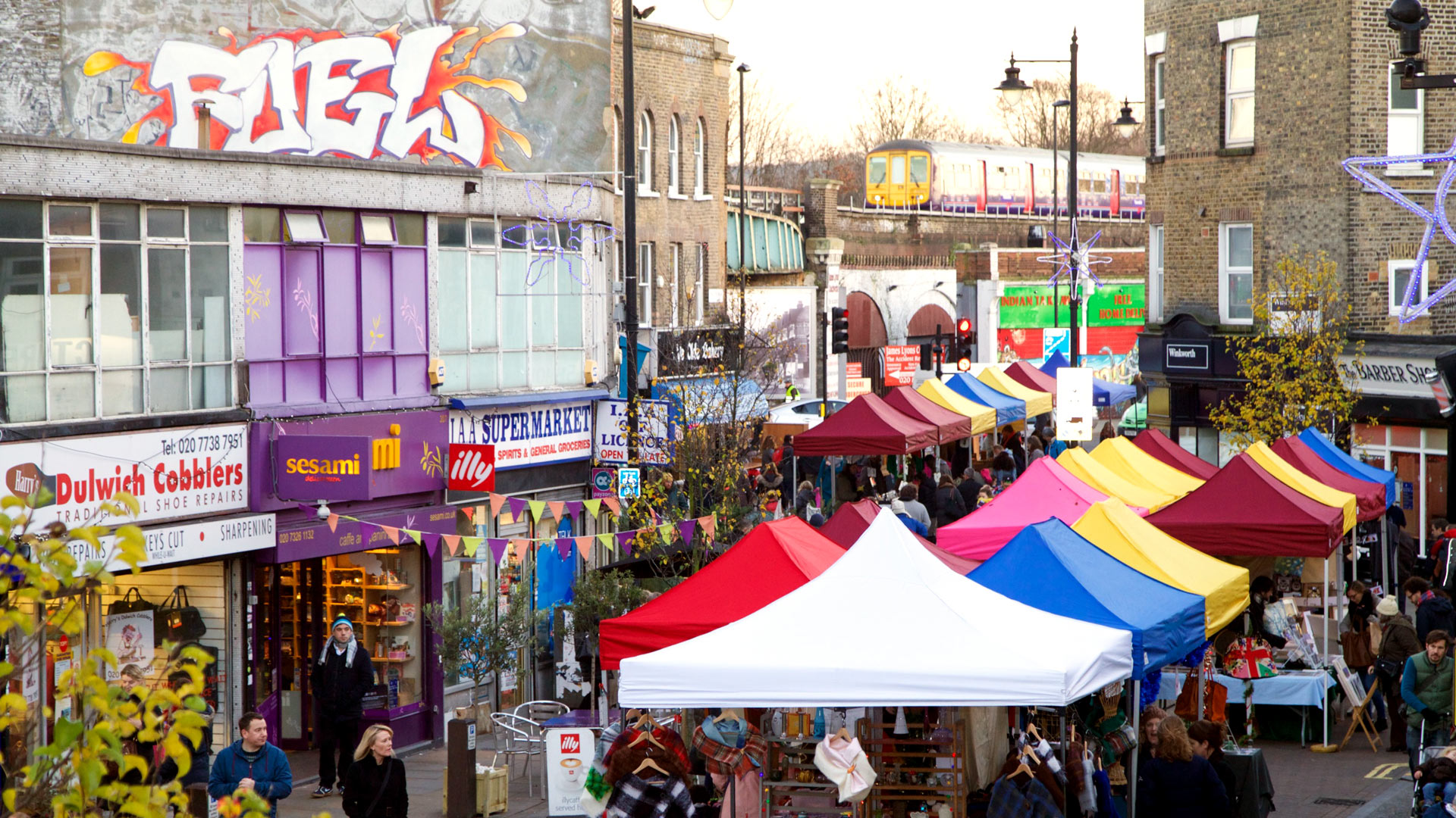 Herne Hill market on Railton Rd, SE24