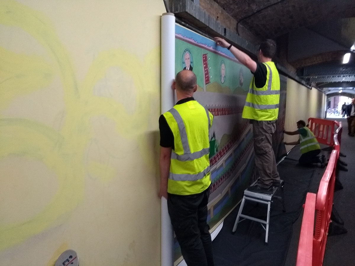 Herne Hill mural being installed