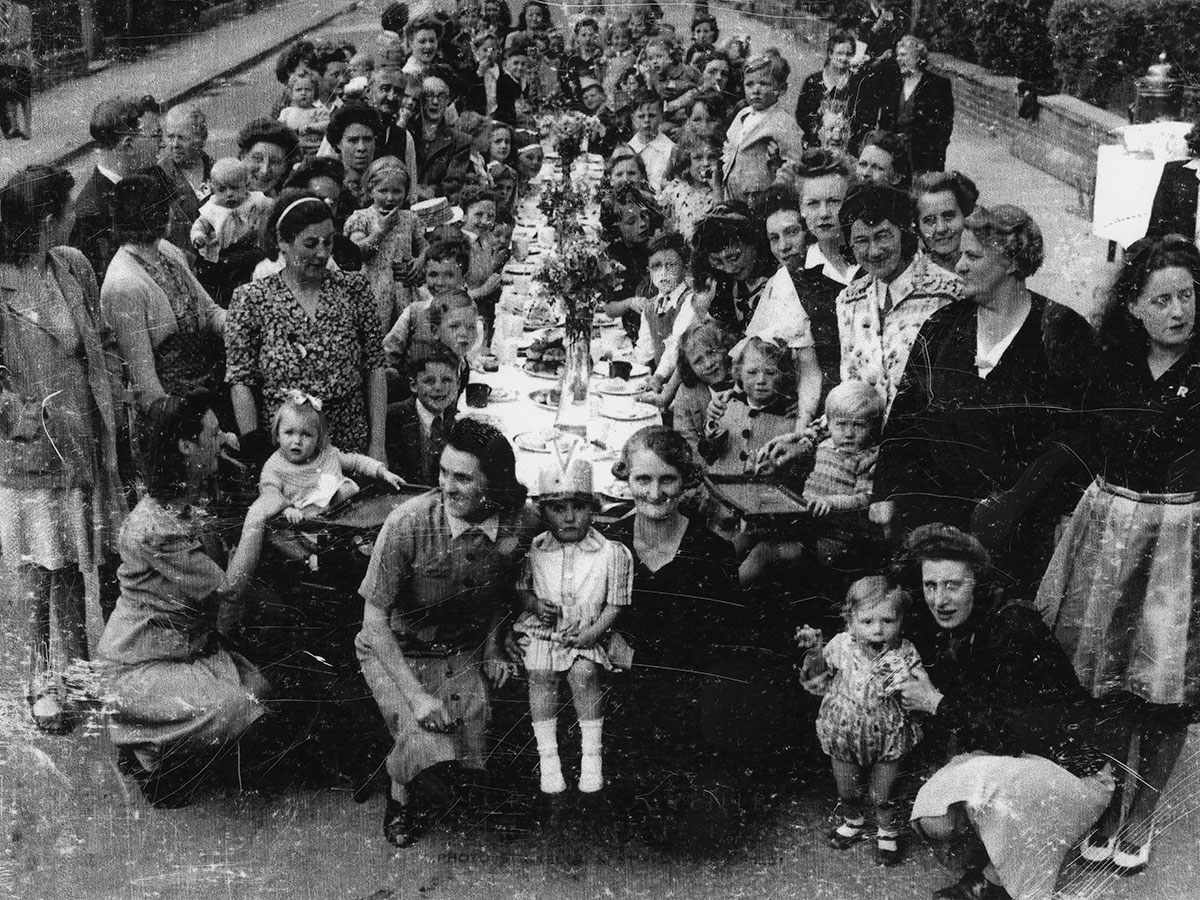 The Shakespeare Rd, Herne Hill, VE Day celebrations in 1945 - a black and white photograph