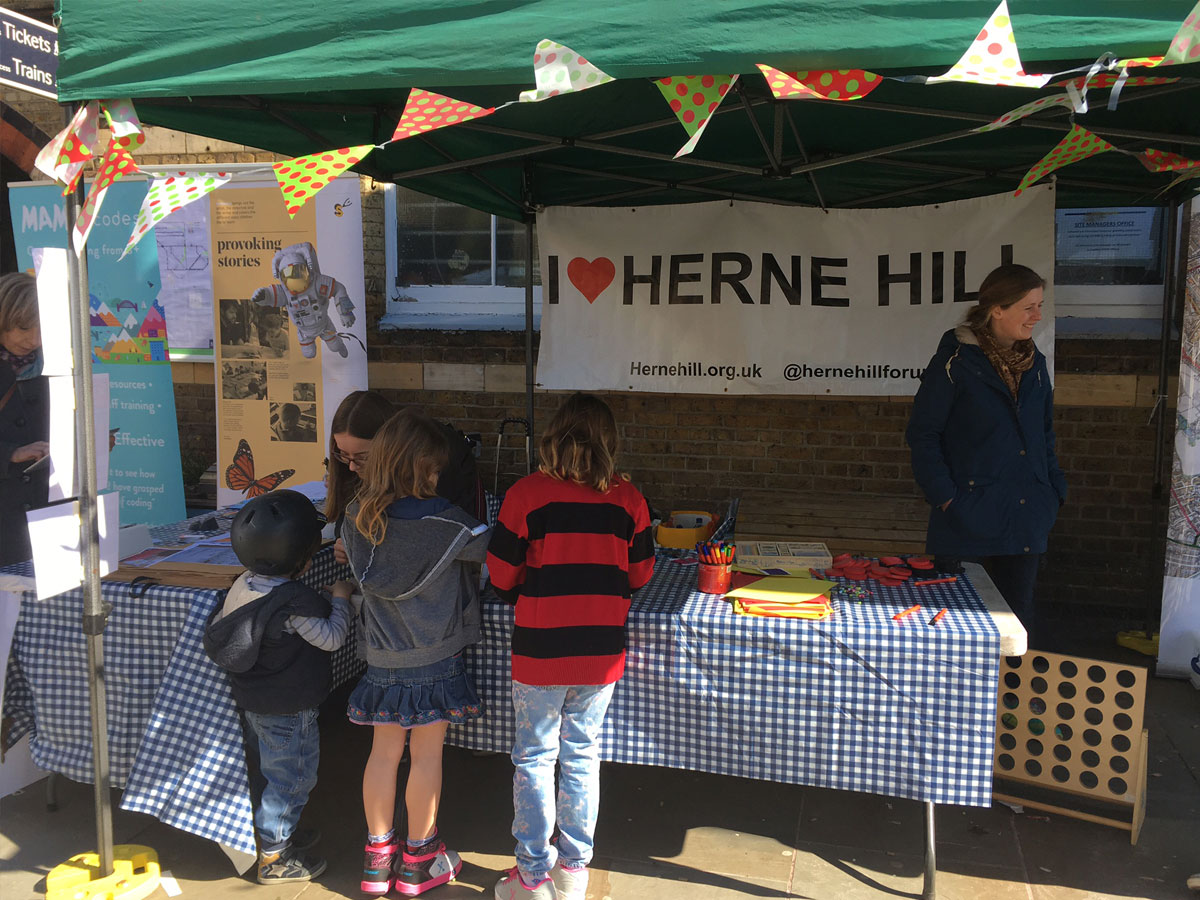 Herne Hill Forum community tent at the market in Railton Rd