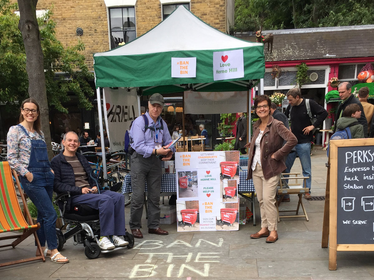 Members of the Herne Hill Forum by the community tent in Station Square