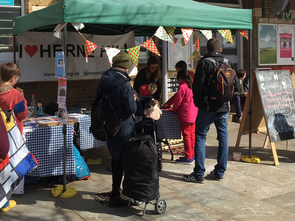 Community Tent run by the Herne Hill Forum at the Sunday market in Railton Rd
